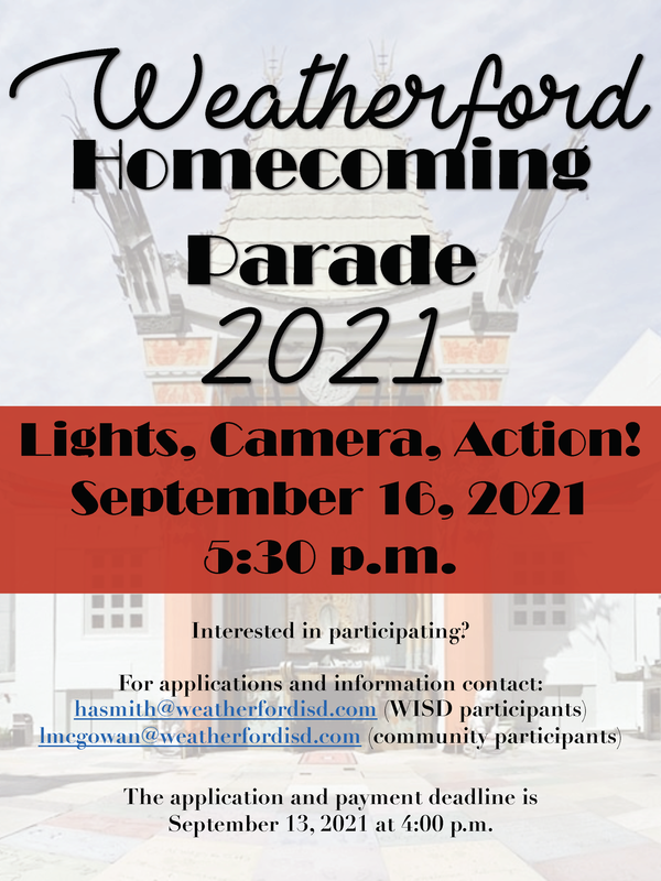 WHS Homecoming parade flyer - Date is September 16, 2021 and the parade begins at 5:30 pm