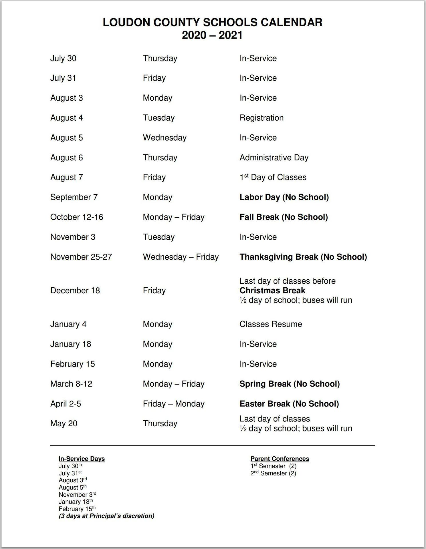 Print School Year Calendar – I Want To – Loudon County Schools