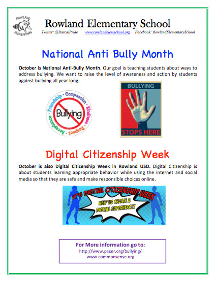 National Anti-Bully and  Digital Citizenship Month Featured Photo
