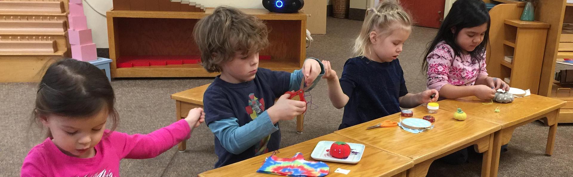 Children sewing