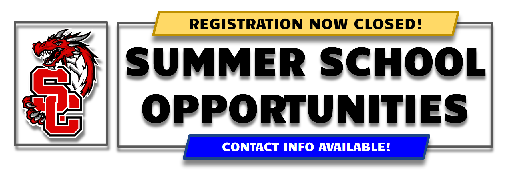 Banner with following text: Summer School Opportunities - Registration Now Closed - Contact Info Available