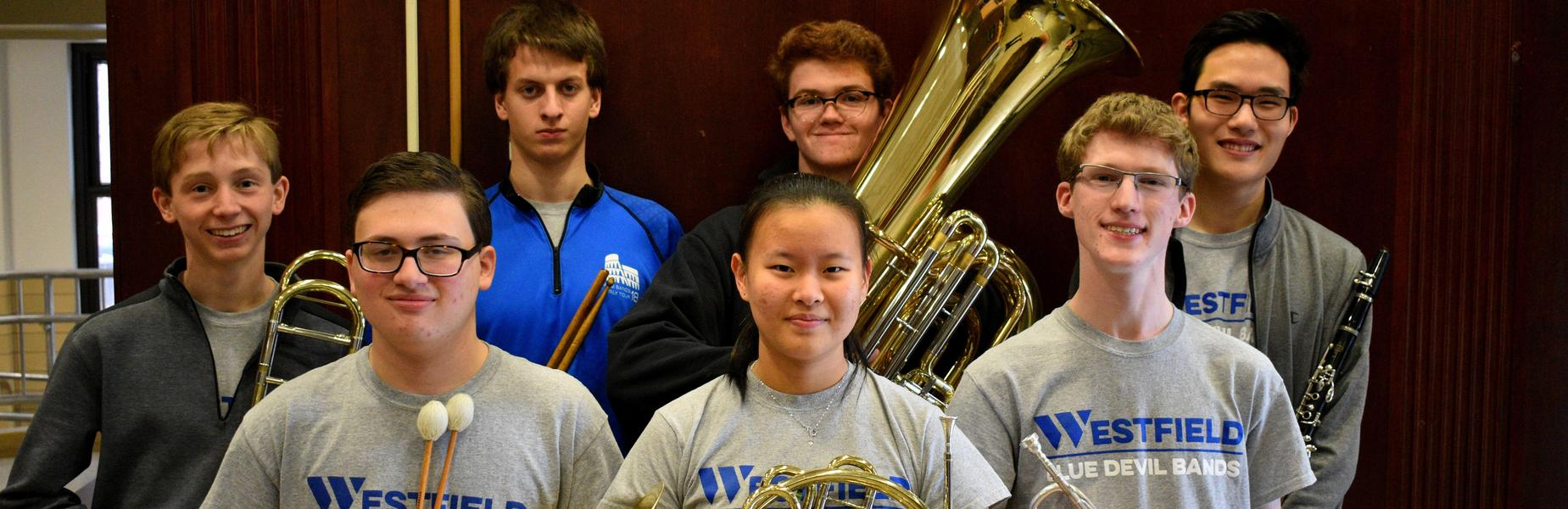 Westfield High School student musicians selected to perform this month in the Region II band and orchestra are (L-R front) Ian Gurland, Aprina Wang, Max Tennant.  (L-R back) Conor Daly, David Criscuolo, Patrick Gallagher, and Alexander Cha.