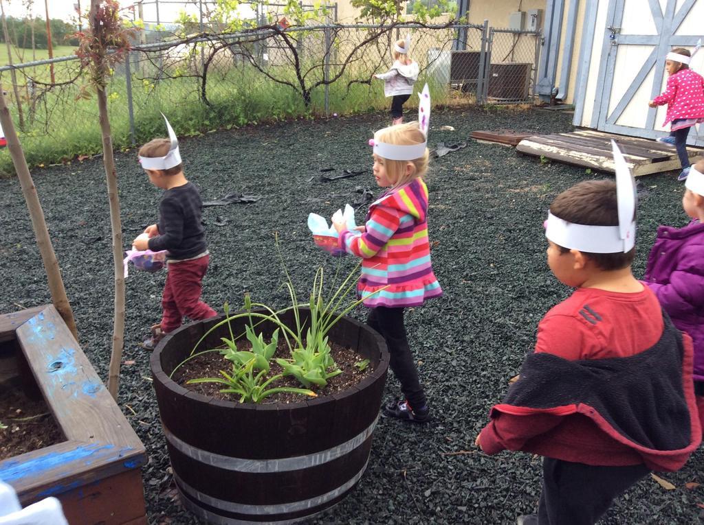 children hunting for Easter eggs