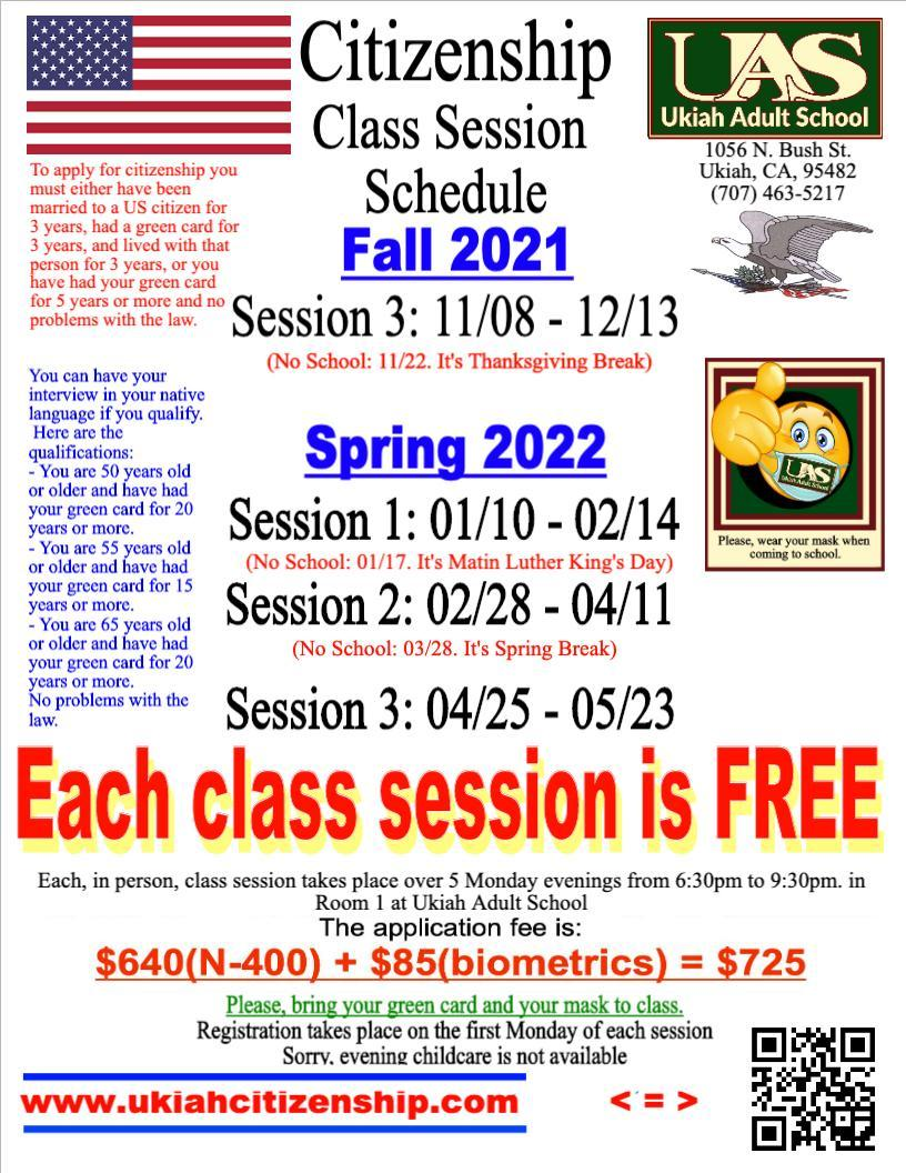2021-2022 Citizenship Class Session Schedule poster.  The next session will start November 8, 2021 and end December 13, 2021.