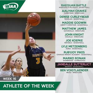 WIAA list of student athletes of the week and a photo of Wapato Girls Basketball player