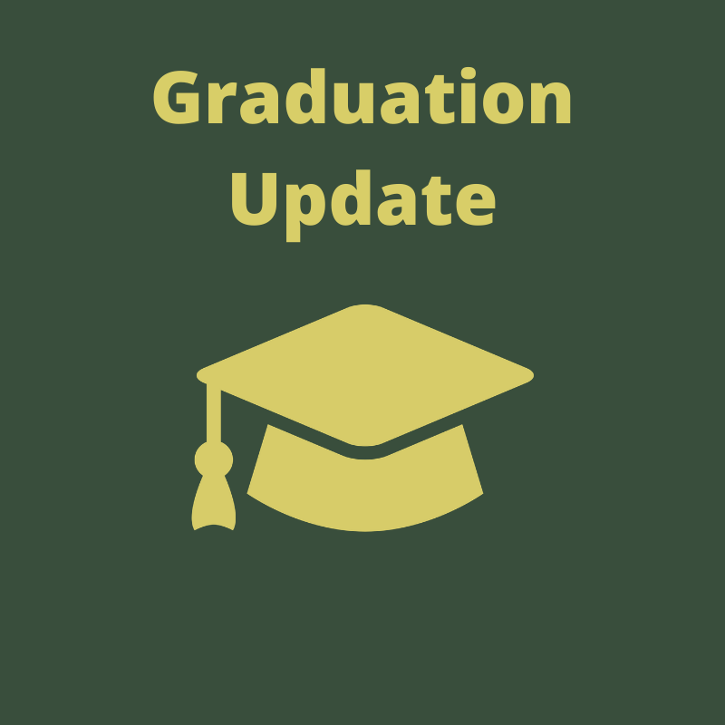 Green background with gold graduation cap and gold text that reads
