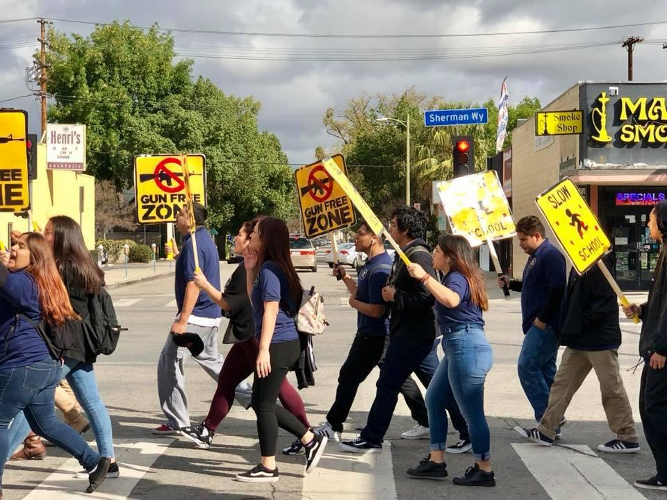 Canoga Park students protesting gun violence