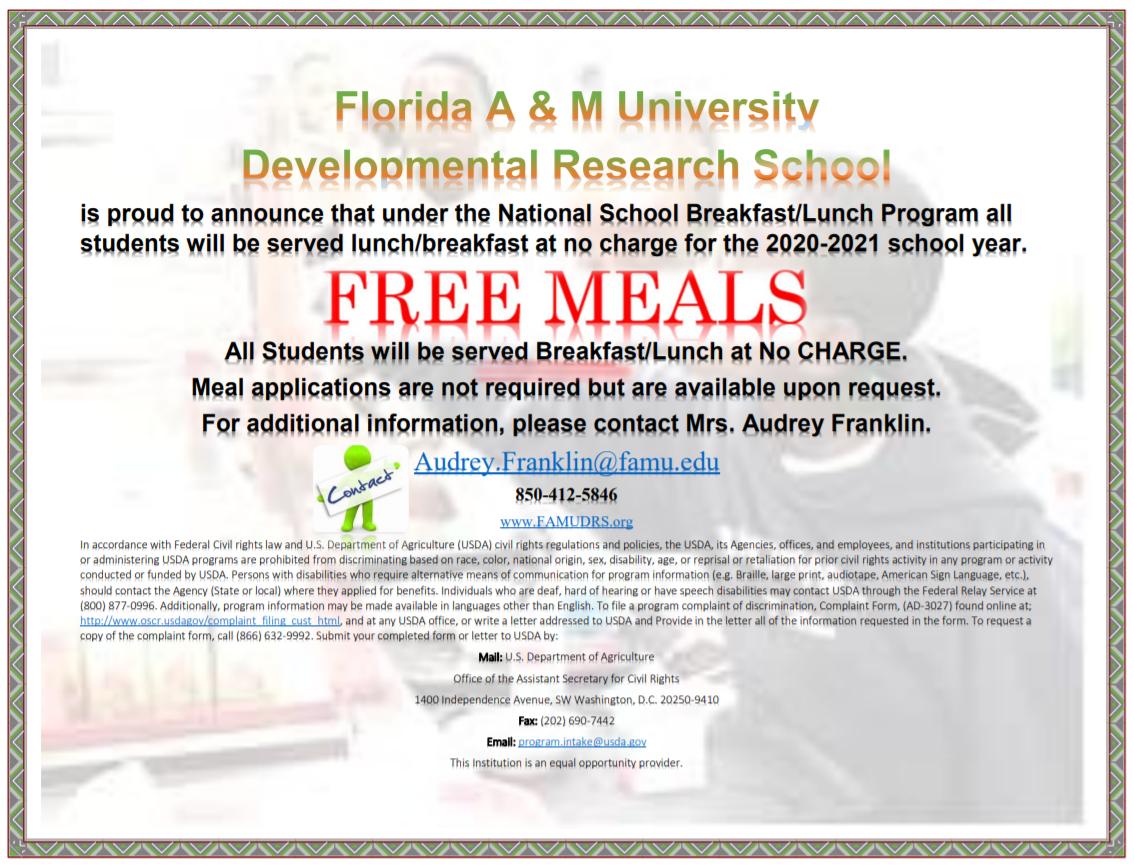 FAMU DRS-National School Breakfast-Lunch Program Free Meals 20-21 Flyer