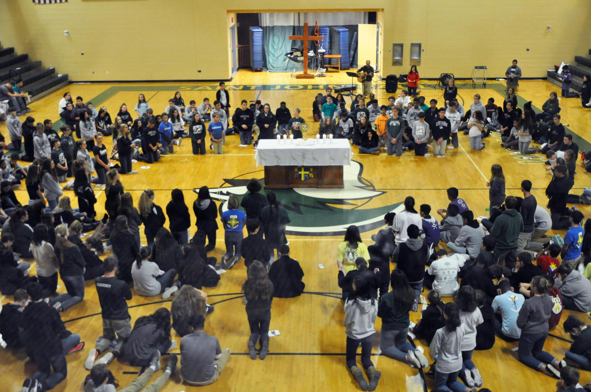 The whole school gathered for adoration
