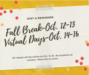 dates for fall break and virtual days