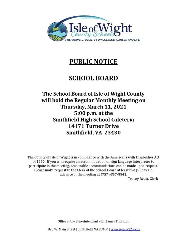 school board meeting announcement
