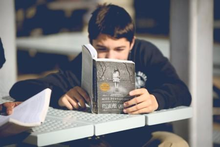 Student reading a book.