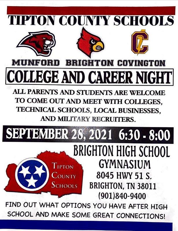 All parents and students are welcome to come out and meet with colleges, technical schools, local businesses, and military recruiters.