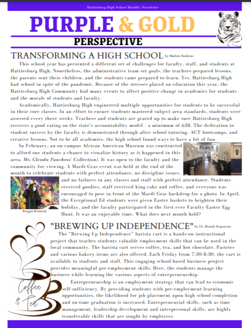 April Newsletter--The Purple and Gold Perspective Featured Photo