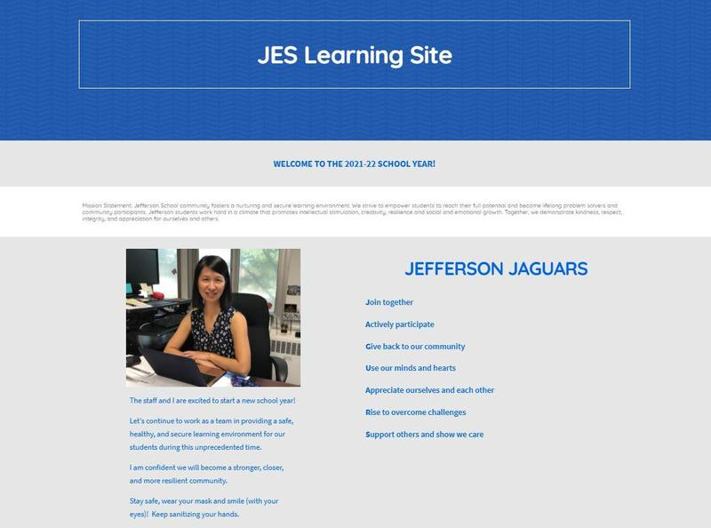 Screenshot of opening page of Jefferson Learning Site