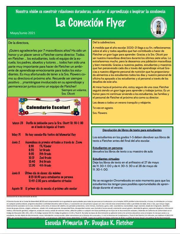 Boletín informativo Fletcher Flyer para mayo / junio de 2021