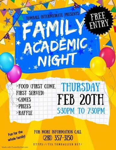 Attention Parents: Here is the information for our upcoming Family Academic night on February 20th. I hope to see you all there!