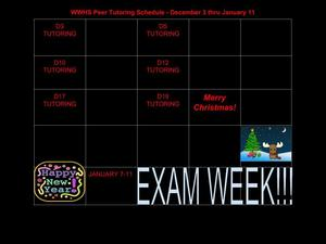 December Peer Tutoring Schedule