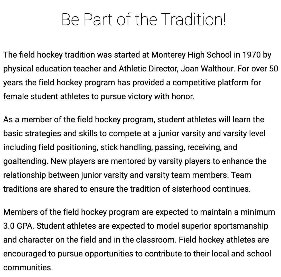 About MHS Field Hockey