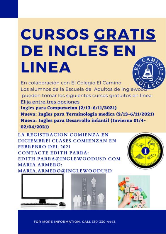 Cursos Gratis en colaboracion con El Colegio El Camino
