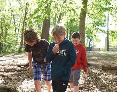 Boys Walking In Woods