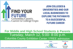 flyer for the Columbia County School District inaugural Career and College Expo at the Columbia County Exhibition Center, March 12 ,2019 from 5 - 8 p.m.