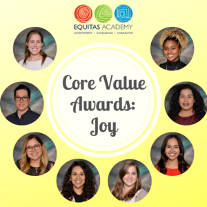 Core value awards with staff pictures of award winners