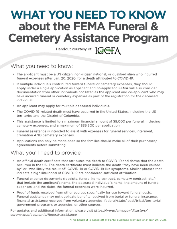 FEMA Funeral & Cemetery Assistance Program Featured Photo