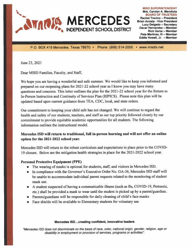 Letter from the Superintendent | English & Spanish Featured Photo