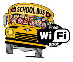 yellow school bus with students inside with a wifi logo