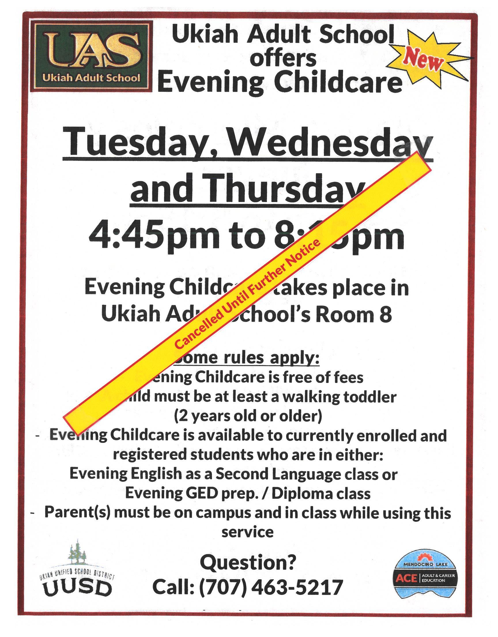 Evening Childcare cancelled until further notice poster