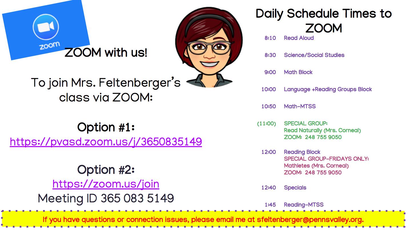 Schedule for ZOOM Links