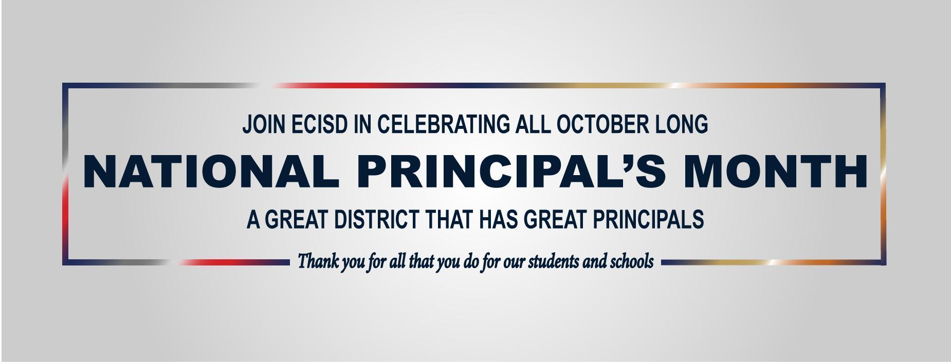 Principals Month Banner