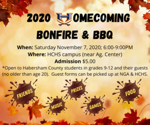Homecoming Bonfire & BBQ Nov. 7th