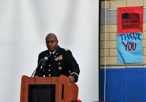 Westfield High School principal Dr. Derrick Nelson speaks of his 20+ years of service in the U.S. Army Reserve at an annual Veterans Day assembly at Edison on Nov. 7