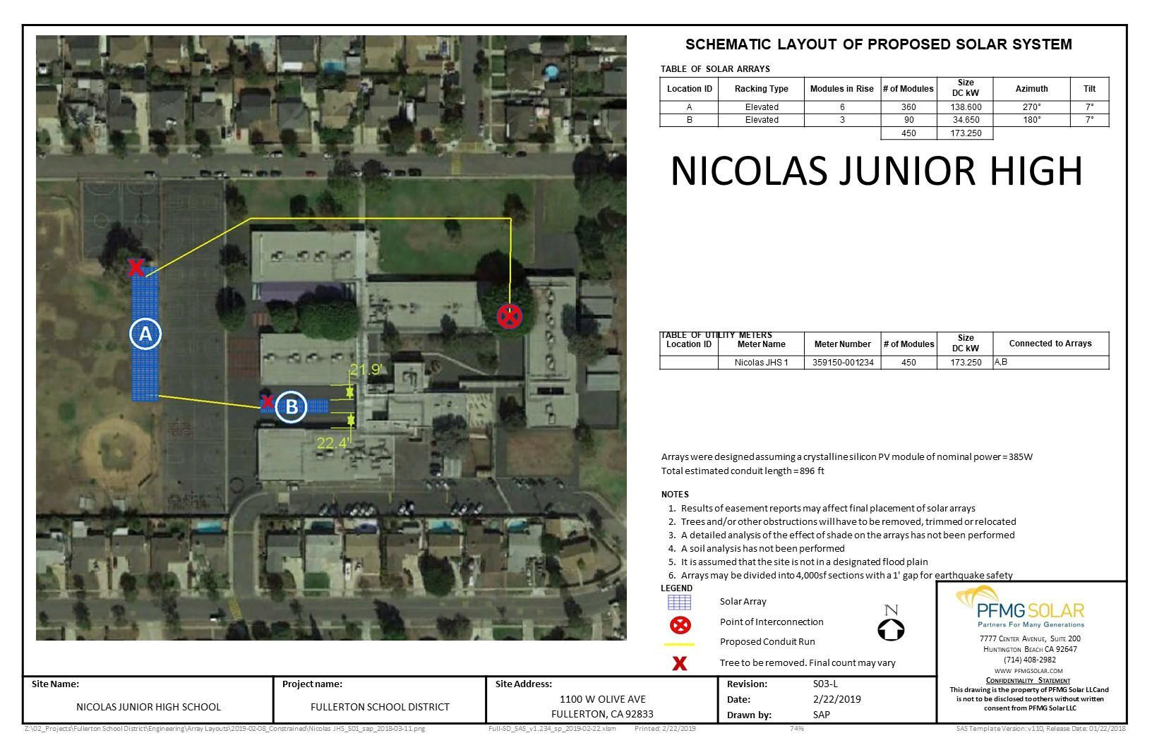 Nicolas Junior High Schematic Layout of Proposed Solar System