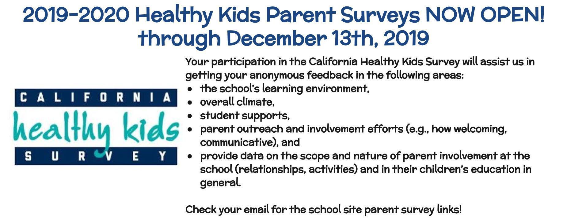 Healthy Kids Survey Information