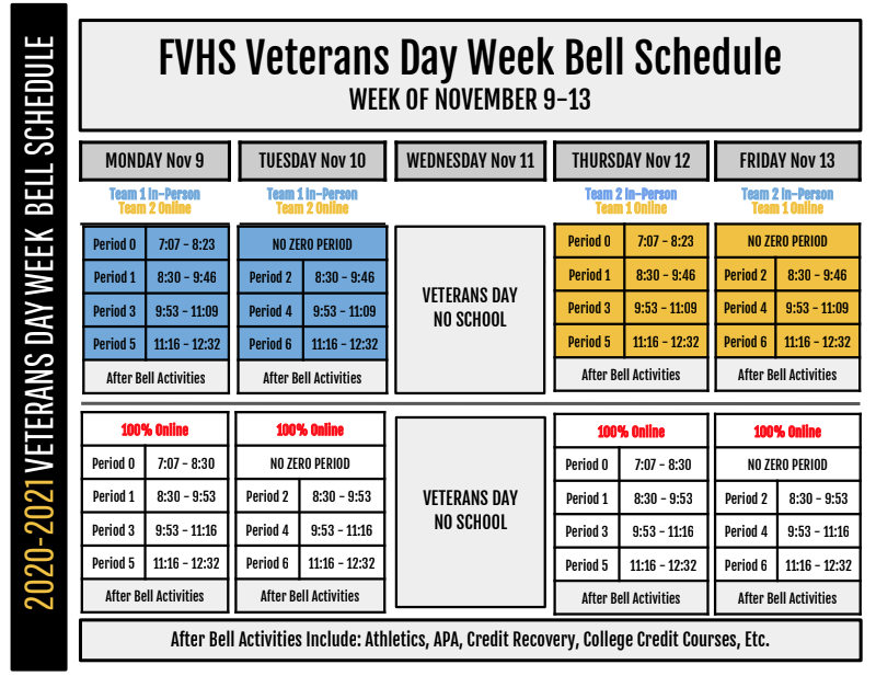 veteran's day schedule