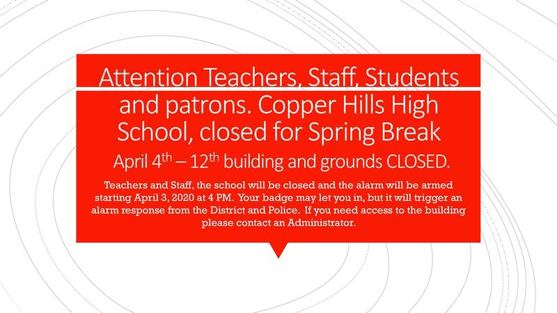CHHS Closed for Spring Break April 4th - 12th