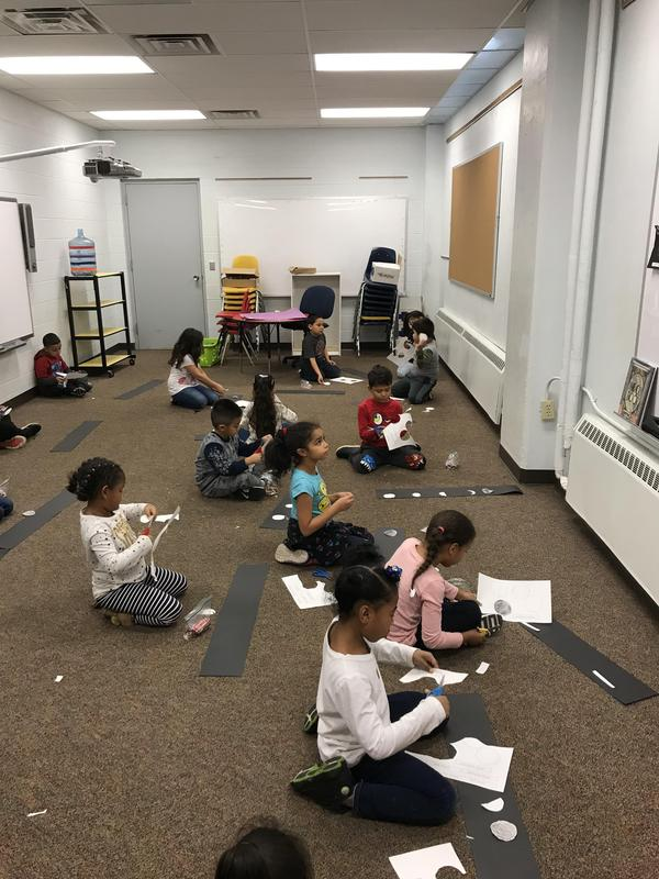 Students working on their moon cycles