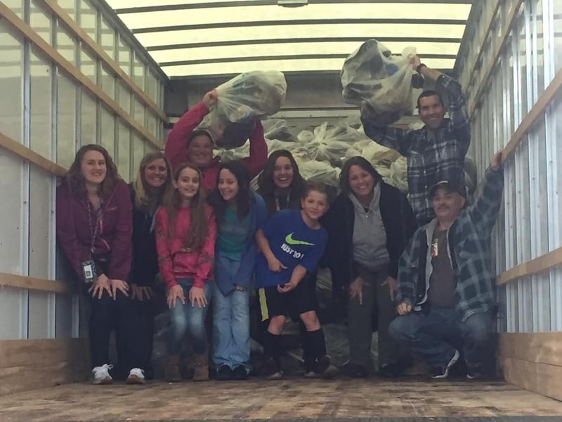 French Creek students with 3,000+ pairs of shoes collected during their shoe drive