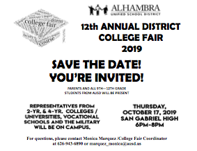 SAVE THE DATE:  The 12th ANNUAL DISTRICT COLLEGE FAIR is coming! Featured Photo