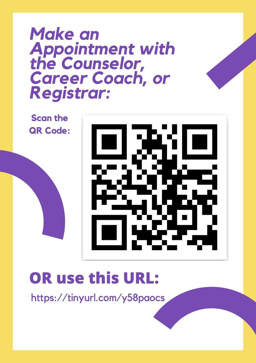 QR code to schedule and appointment with counseling staff