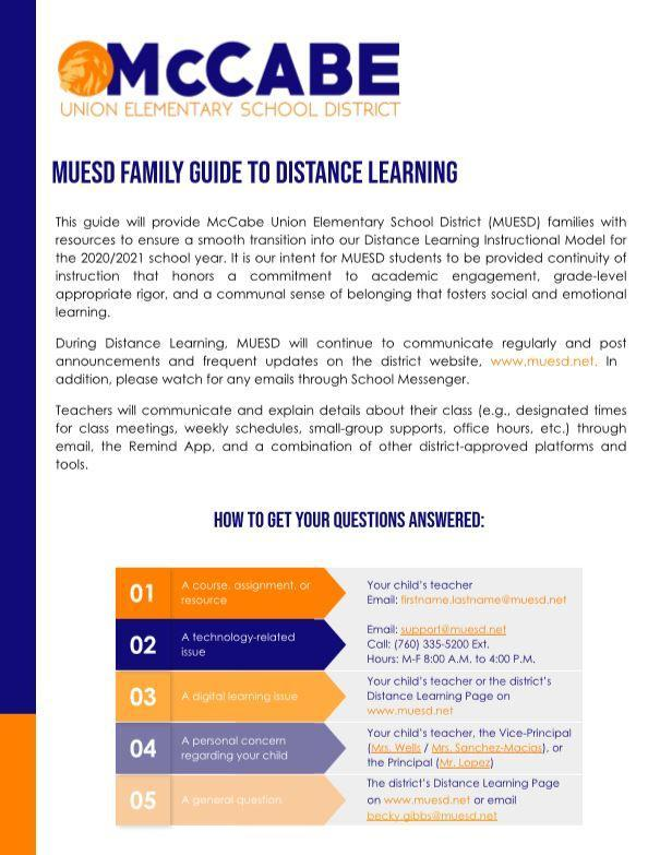 MUESD Family Guide to Distance Learning Thumbnail Image