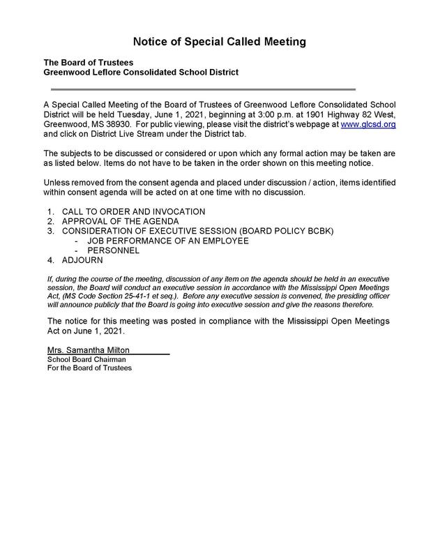 NOTICE OF SPECIAL CALLED BOARD MEETING Featured Photo