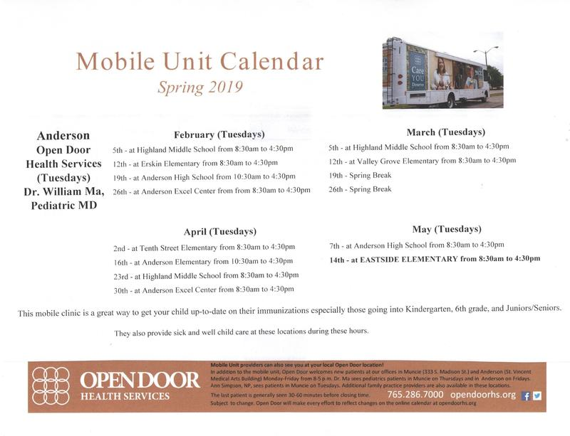 Anderson Open Door Health Services Mobile Unit Calendar - Spring 2019 Thumbnail Image