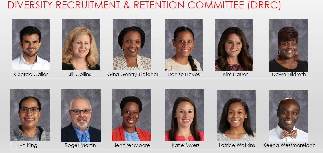 This is an image of the members of the Diversity Recruitment and Retention Committee. Their names are listed below this image