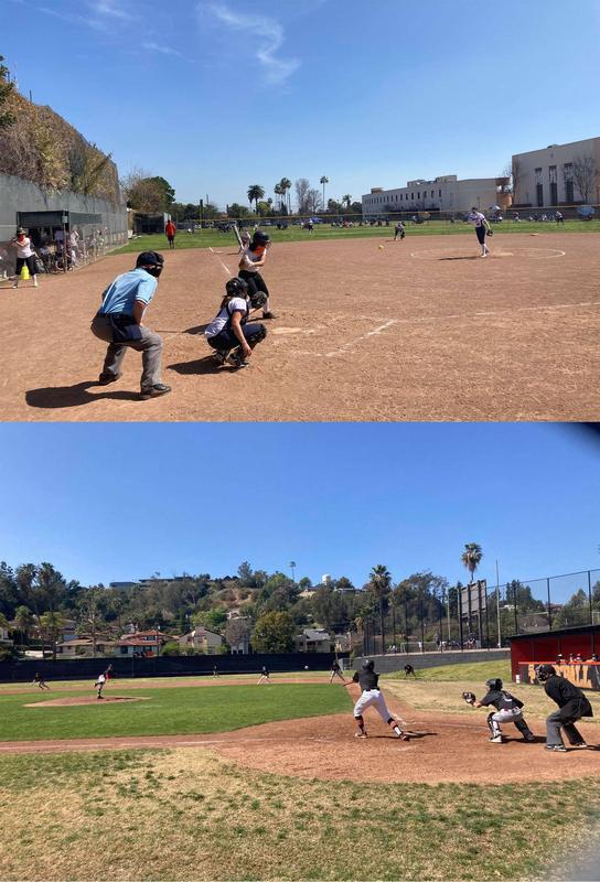 Top: softball team on field playing; Bottom: baseball team on field playing