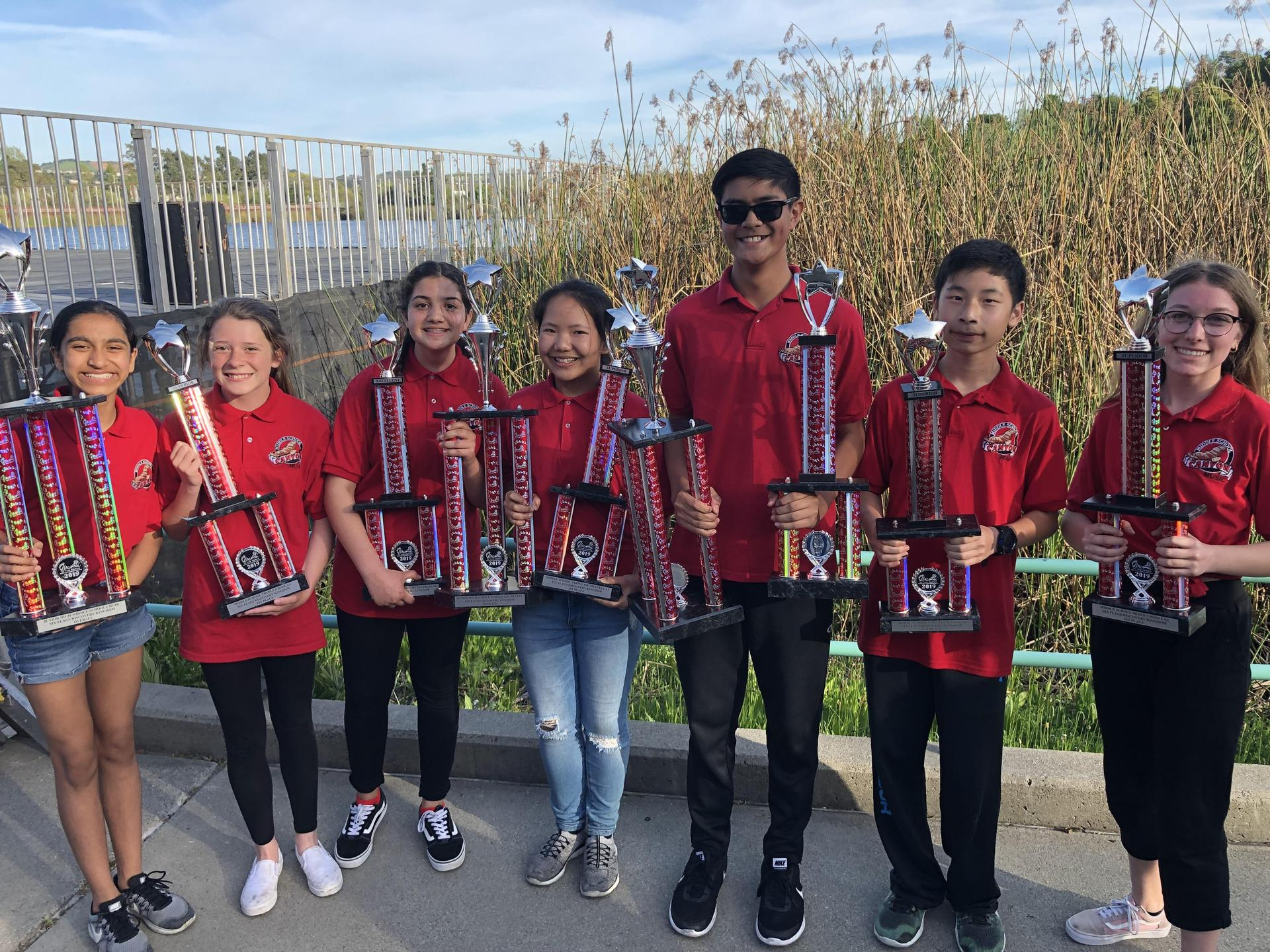 Students with trophies after the Music in the Parks Award Ceremony