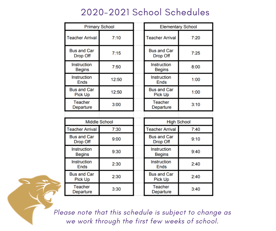 Modified Schedules
